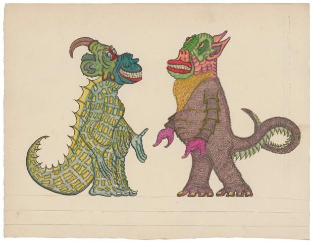 Josep Baqué Sans titre, entre 1932 et 1967 mine de plomb, encre et gouache sur papier 25 x 32,4 cm Photo : Atelier de numérisation - Ville de Lausanne Collection de l'Art Brut, Lausanne