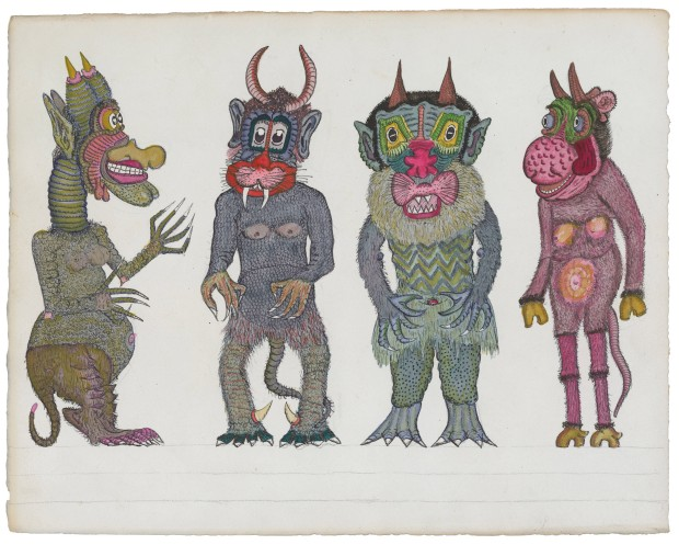 Josep Baqué. Sans titre, entre 1932 et 1967 mine de plomb, encre et gouache sur papier 26 x 32,7 cm Photo : Atelier de numérisation - Ville de Lausanne Collection de l'Art Brut, Lausanne