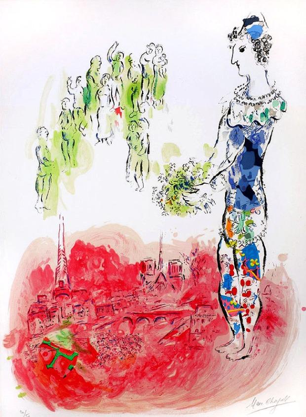 Le Magicien de Paris, 1970, lithographie en couleurs. Collection Charles Sorlier, Courtesy Bouquinerie de l'Institut, Paris © Adagp, Paris 2014 – Chagall ® M. 598