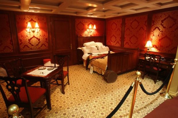 Reproduction d'une cabine de 1ère classe. RMS Titanic Inc.