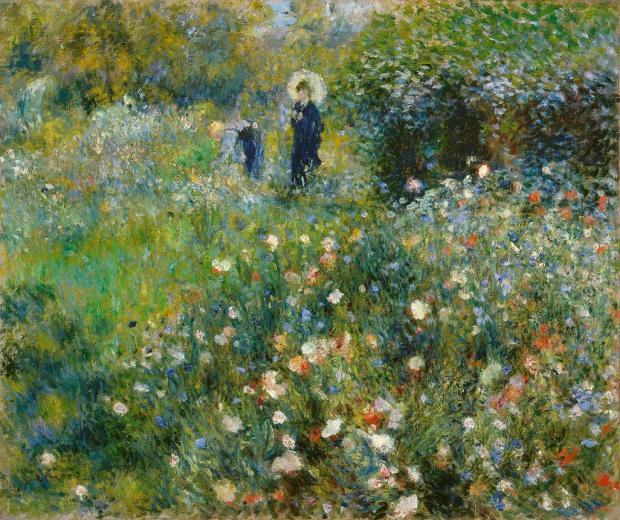 Renoir - Femme a l ombrelle dans un jardin Vers 1873-1875 ht 54.5 x 65 cm Museo Thyssen-Bornemisza Madrid