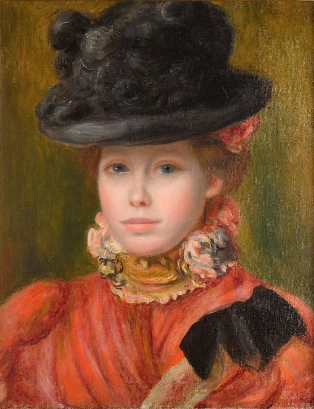 Renoir - Jeune fille au chapeau noir a fleurs rouges vers 1890 ht 41.3 x 32.9 Collection particulière. Photo Jean-Louis Losi