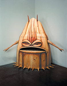 Dream Object (I think I was half awake when I thought of this upright piano 2004 modelled after the cave monster from 'It conquered the world' using an old piano with keys sawed off to make the mouth...) Sculpture 238.8 x 177.8 x 76.2 cm 94 x 70 x 30 in (GB 03443)